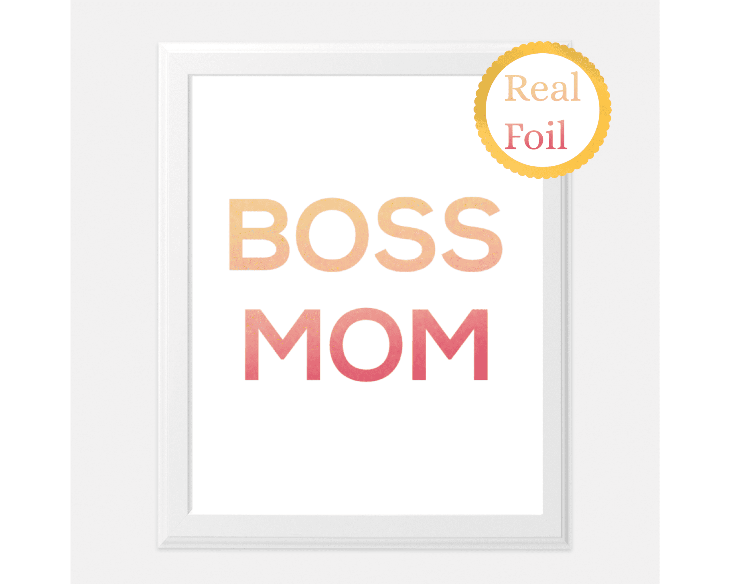 boss mom print gold foil