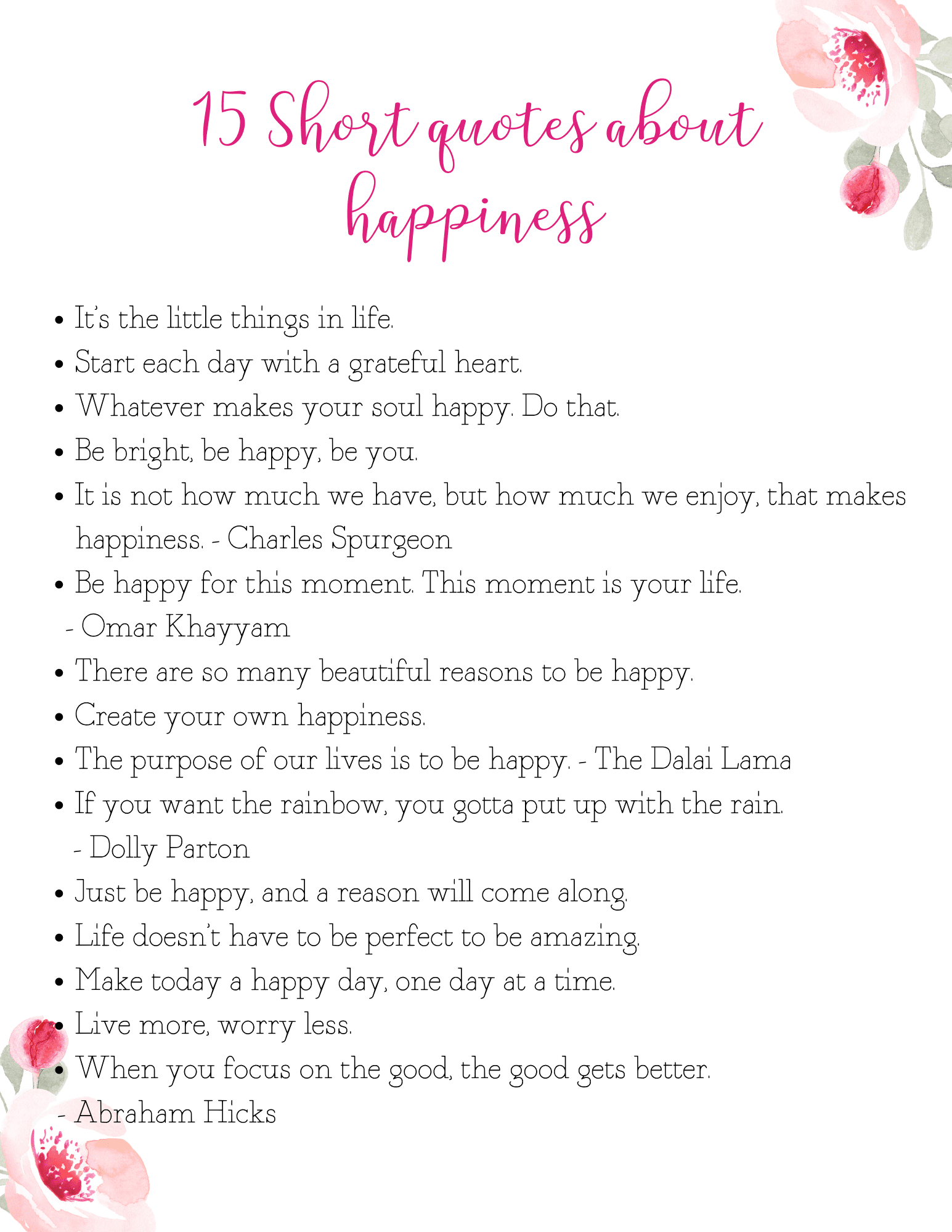 Cute happy quotes about life free printable quotes