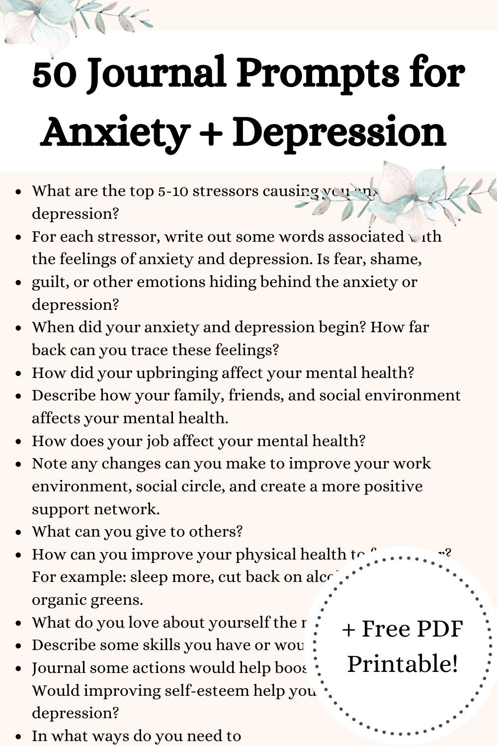 50 Journal Prompts for Anxiety and Depression {+ Free PDF Printable Worksheet!}