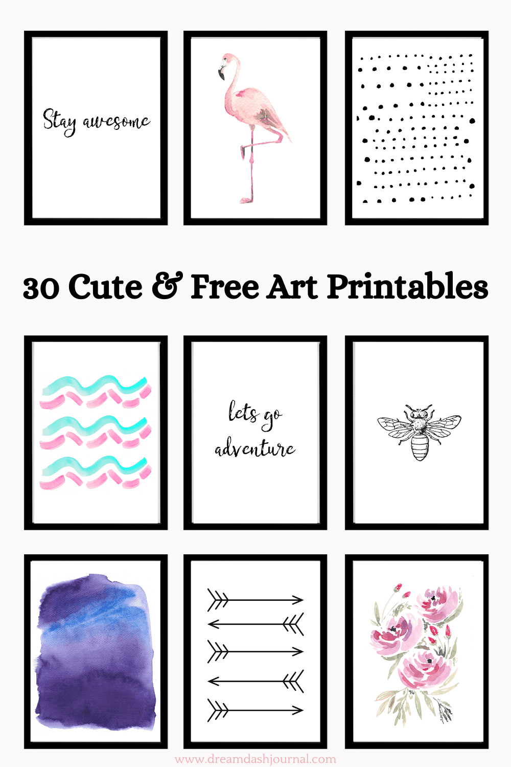 30 Free Art Printables- Black & White Plus Color {Cute and Modern!}