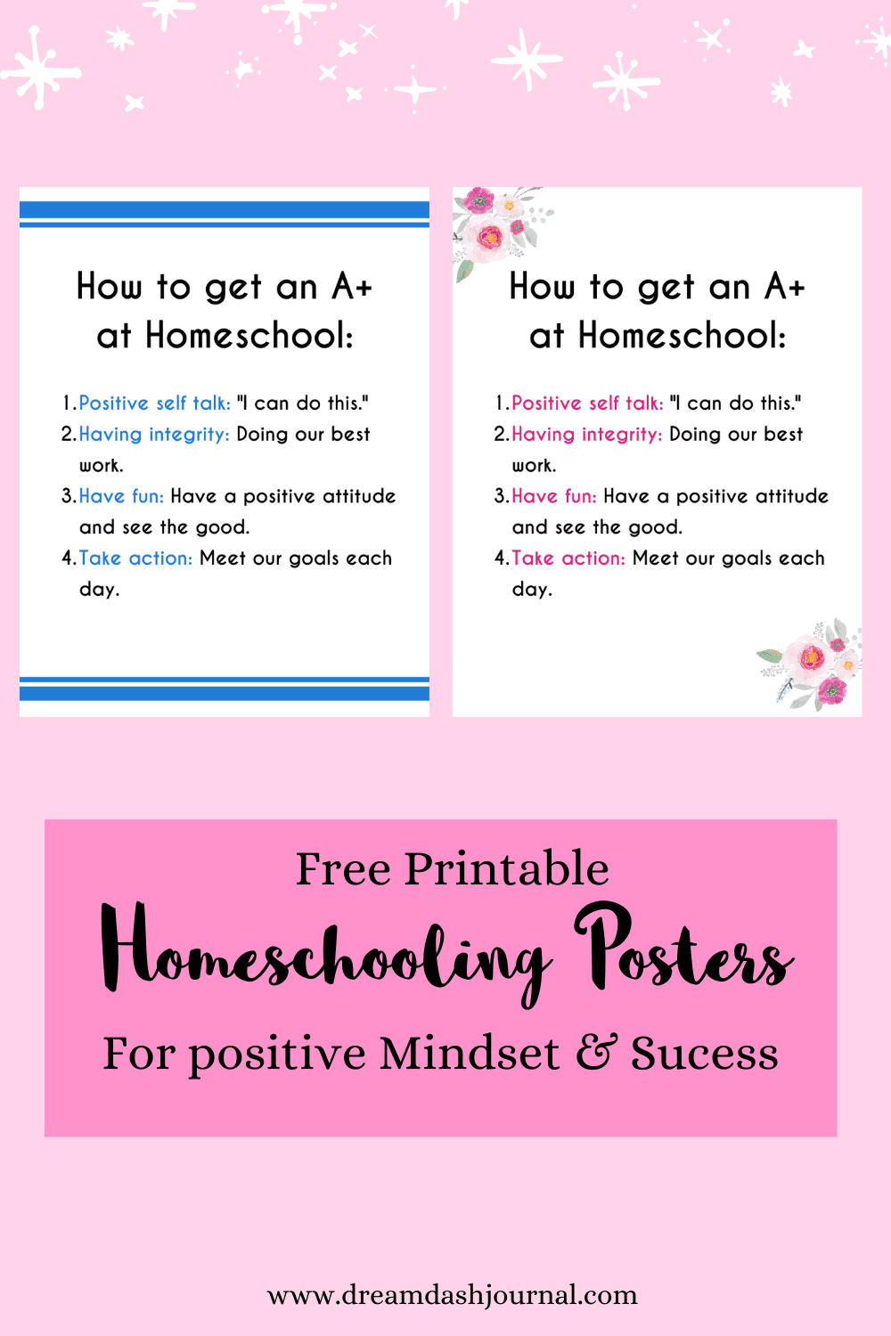 Free Printable Homeschool Posters: How to Get an A in Homeschool