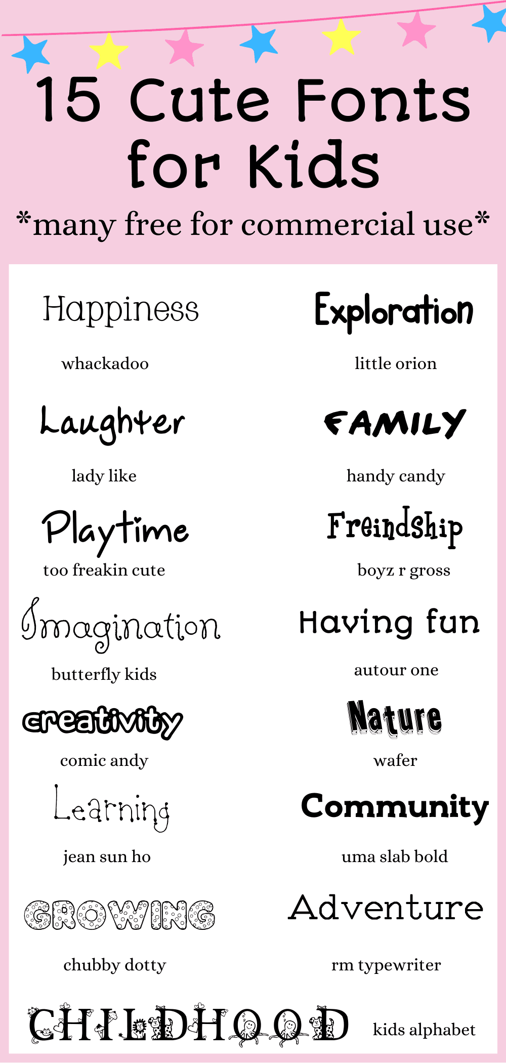 15 Cute Fonts For Kids {Free & Easy to Read!}