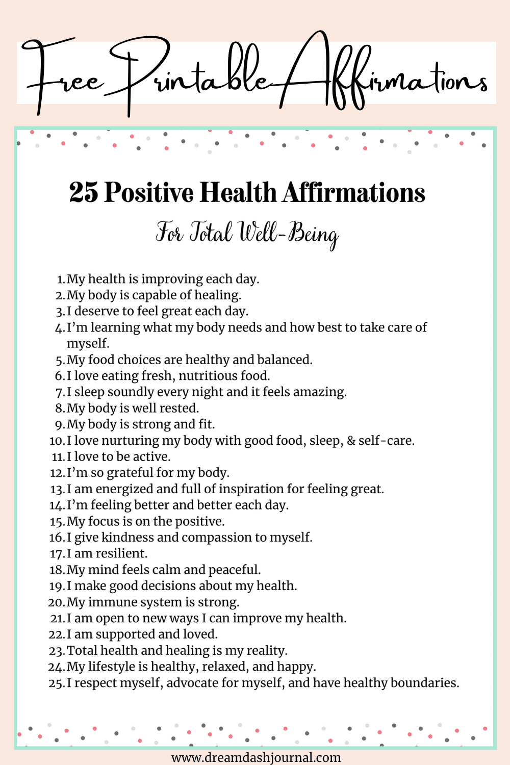 25 Positive Health Affirmations for Well-Being {Free PDF Printable Cards + Worksheet!}