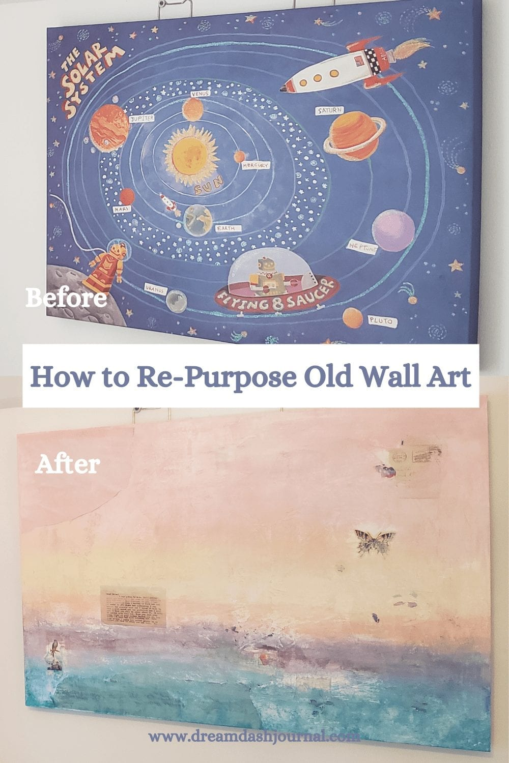 How to Paint Over a Large Canvas: Easy Mixed Media Wall Art Makeover