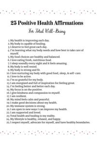 printable health affirmations
