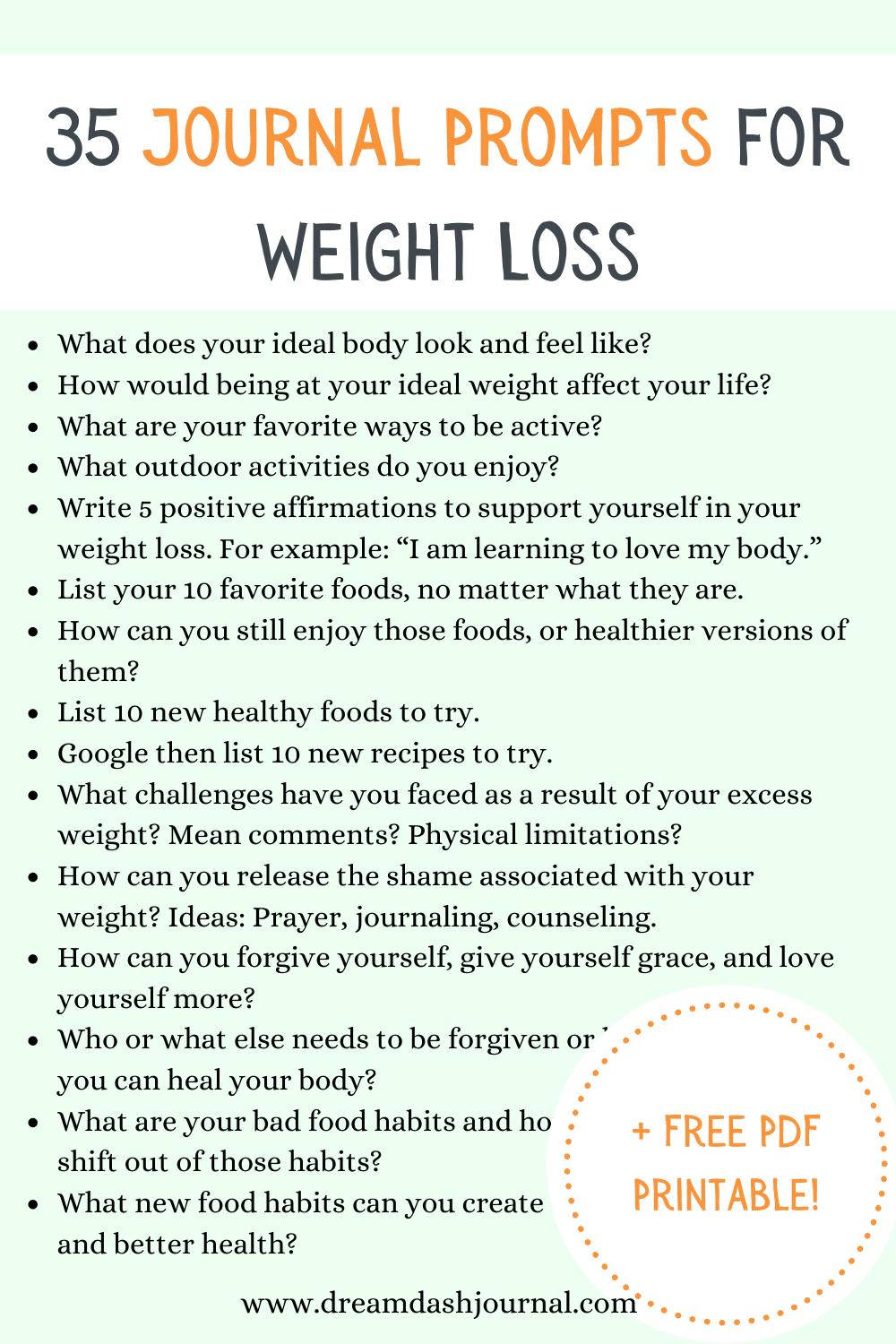 35 Journal Prompts for Weight Loss With Free PDF Printable Worksheet