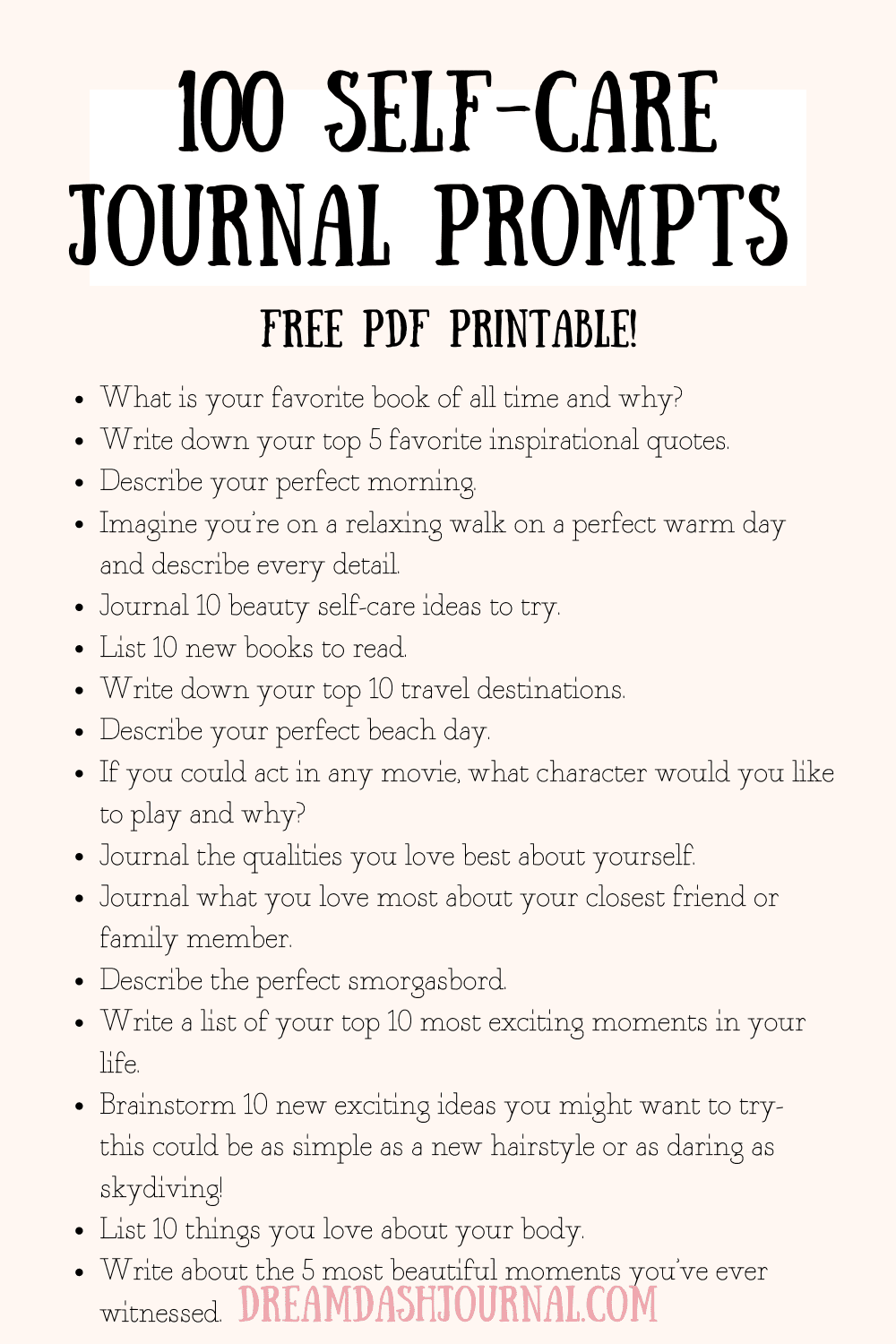 100 Self-Care Journal Prompts {With Free PDF Printable!}