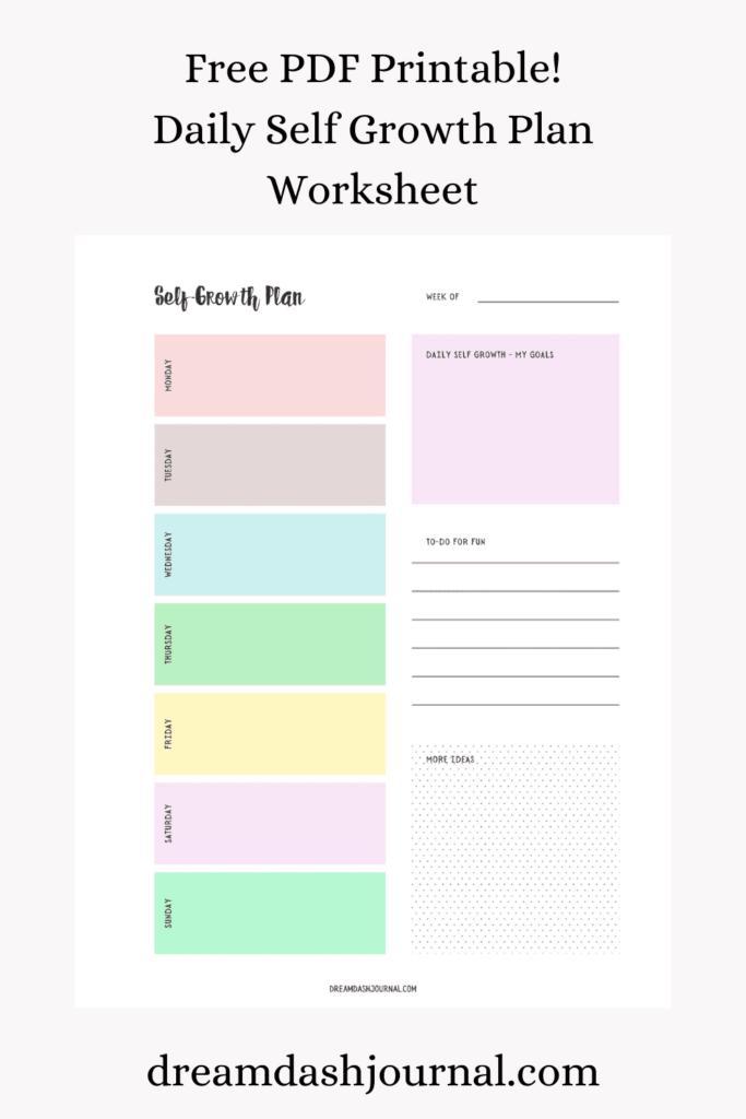 printable self growth plan